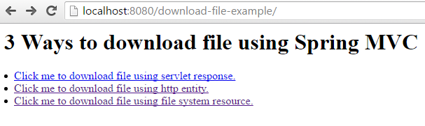 Spring MVC Download File Example
