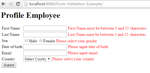 Spring MVC Form Validation Annotation Example errors