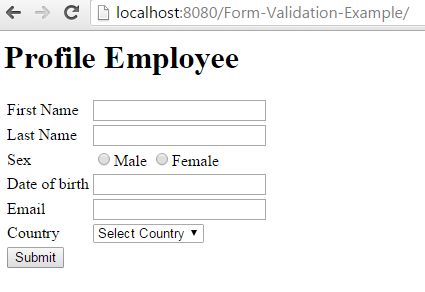 Spring MVC Form Validation Annotation Example form