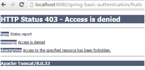 Spring Security Basic Authentication Example using Annotation denied