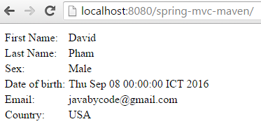 Creating Spring MVC Project in Eclipse Using Maven input result