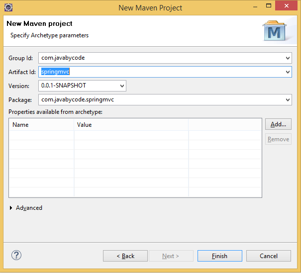 Creating Spring MVC Project in Eclipse Using Maven groupid