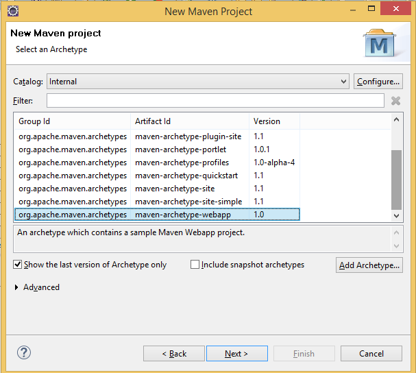 Creating Spring MVC Project in Eclipse Using Maven webapp