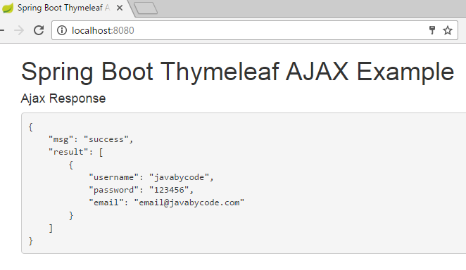 Spring Boot Thymeleaf Ajax Example - Learn Java by Examples