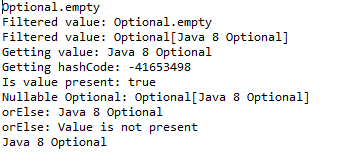 Java 8 optional example
