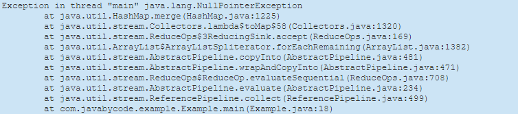 Java 8 NullPointerException in Collectors.toMap
